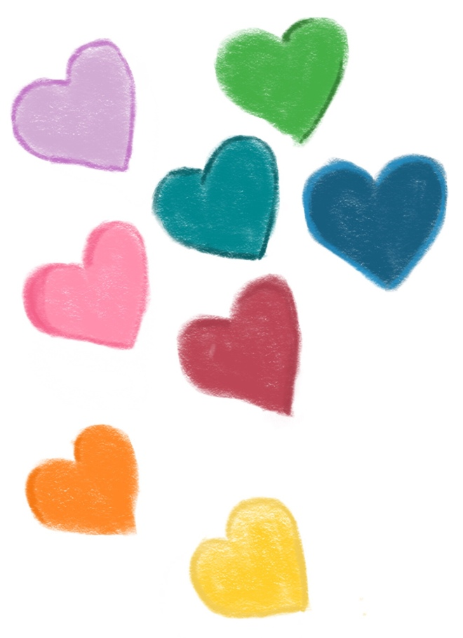 Multi colored hearts sketch
