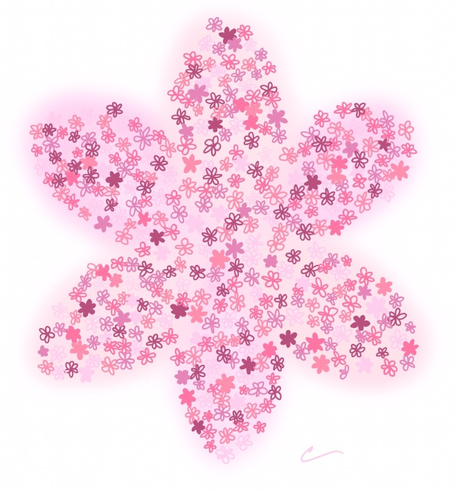 Doodle of a pink flower made of many little pink flowers