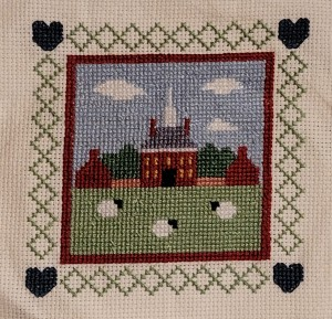 Cross stitch of the Governors Palace in Williamsburg Virginia