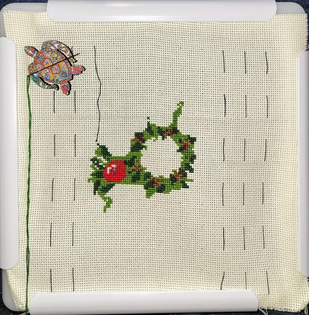 Work in Progress of cross stitch Christmas Wreath